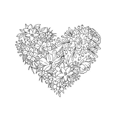Zwarte en witte bloem hart voor uitnodigingskaart