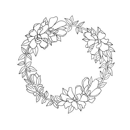 marcos redondos: corona de flores detallado del vintage blanco y negro