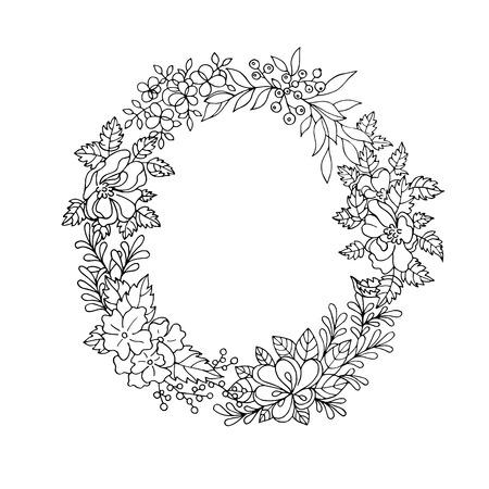 Zwart en wit vintage gedetailleerde bloem krans Vector Illustratie