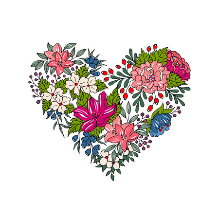 garden flowers: Vector colorful flower heart for Valentines day Illustration