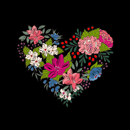 flower heart: Vector colorful flower heart for Valentines day Illustration