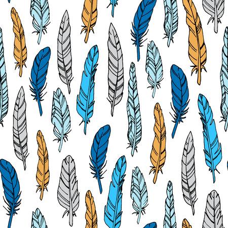 Abstarct vector naadloze patroon met vogelveren textuur