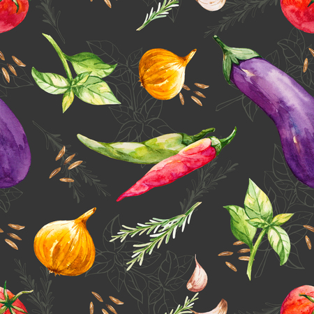 Colorful seamless pattern with vegetables in a watercolor style
