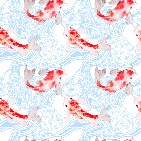 abundance: Watercolor koi fish seamless pattern texture with waves on backdrop