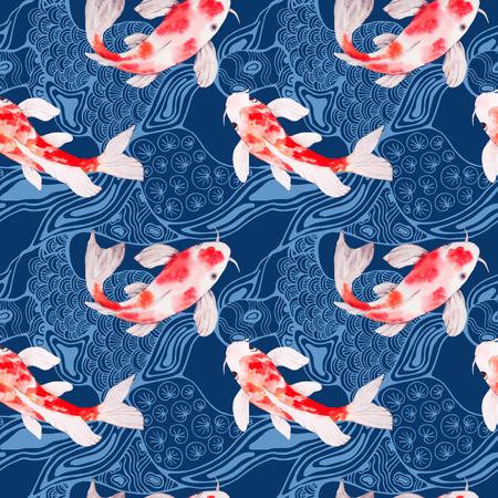 水彩鯉魚シームレス パターン テクスチャ背景の波