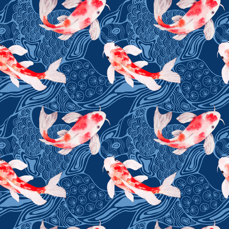 Watercolor koi fish seamless pattern texture with waves on backdrop