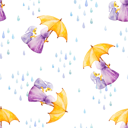 white clouds: Watercolor seamless pattern. Foxes in rainy weather under the umbrella. Mother and daugther. Stock Photo