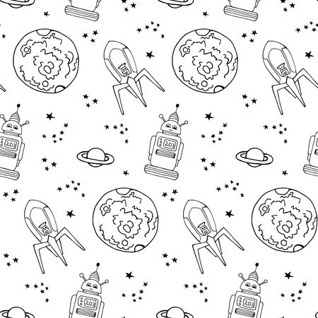 vector seamless pattern with retro robots. Good for kids fashion.