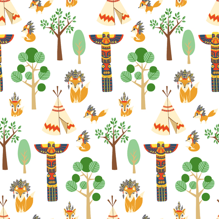 Vector seamless pattern texture with foxes in american indian style