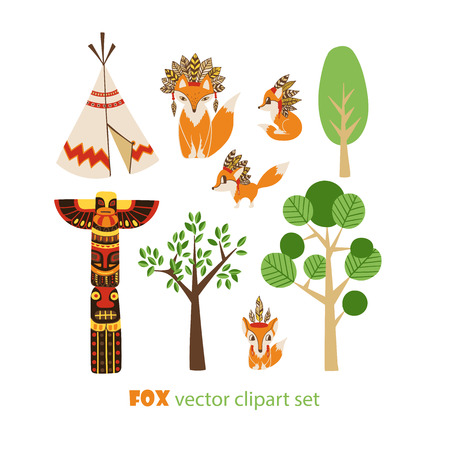Vector clip art set with foxes in american indian style