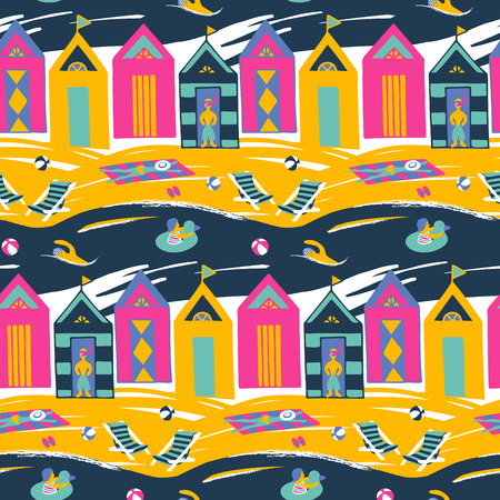 brigt: Beach cabin vector seamless pattern. Colorful brigt pattern with people on vacation. Illustration