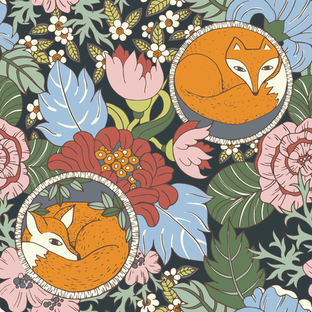 color swatch: Vector stylised flower colorful bright seamless pattern texture with foxes