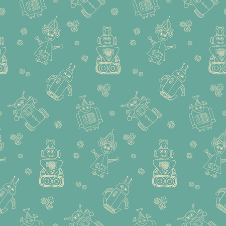 Colorful vector seamless pattern with retro robots. Good for kids fashion.
