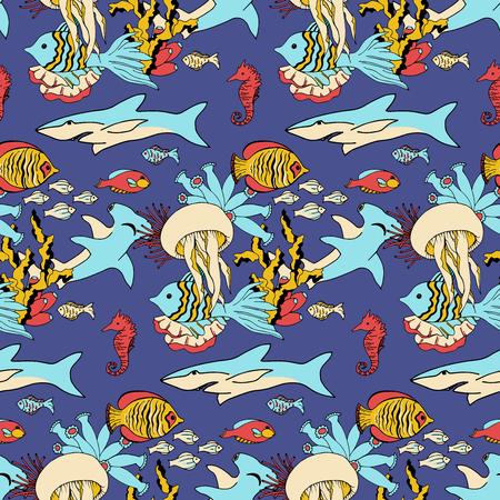 Vector sea life seamless pattern texture. Underwatre world. Illustration