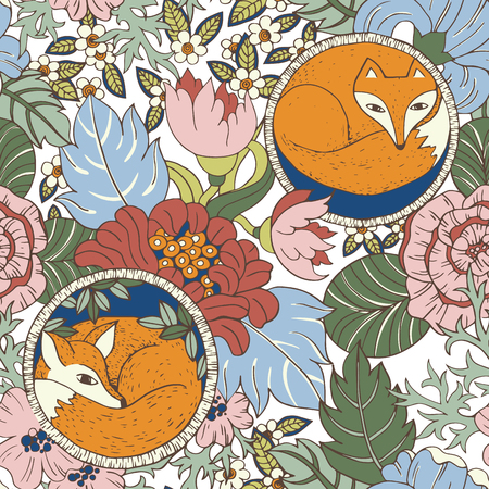petites fleurs: Vector stylised flower colorful bright seamless pattern texture with foxes