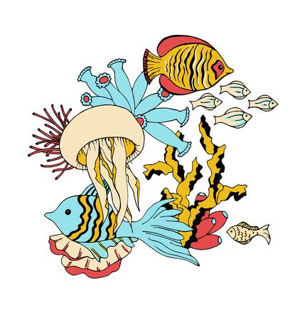sea water: Vector under water sea life animals illustration