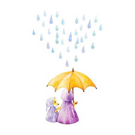 Watercolor illustration. Foxes in rainy weather under the umbrella. Mother and daugther. Heart from raindrops. Stock Photo
