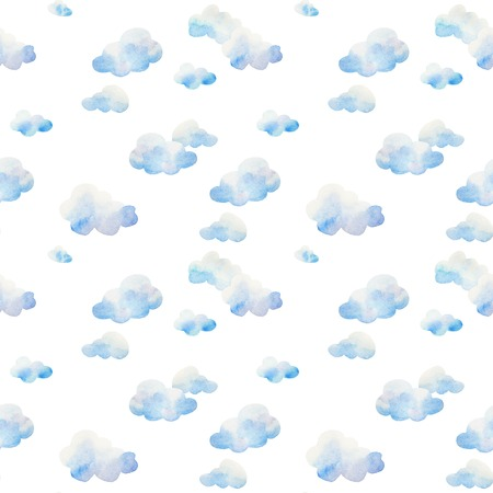 Watercolor seamless pattern. Clouds in a good weather