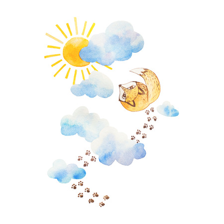 Watercolor  illustration. Fox watching to the sky. Clouds and sun.
