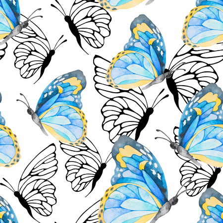 design: Watercolor seamless pattern with colorful butterflies. Good for fashion textile design. Stock Photo