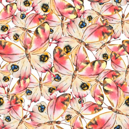 animal print: Acuarela patrón transparente con mariposas de colores. Bueno para el diseño textil de moda.