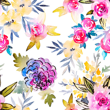 flower patterns: Watercolor floral botanical seamless pattern. Good for printing on fabric, wrapping paper, wallpaper. Raster illustration.