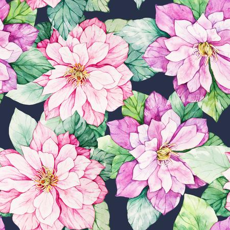 Acquerello botanico floreale seamless. Buon per la stampa su tessuto, carta da imballaggio, carta da parati. Raster illustrazione.
