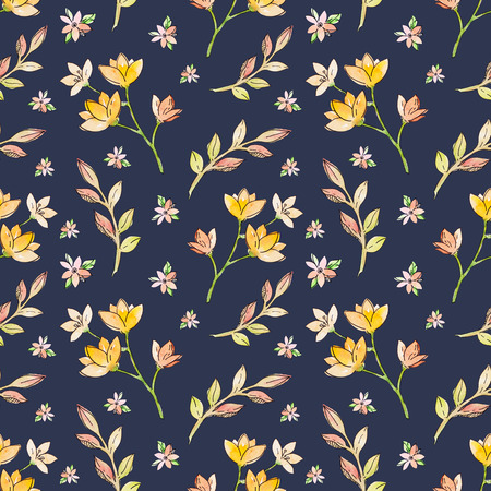 flowers bouquet: Watercolor floral botanical seamless pattern. Good for printing on fabric, wrapping paper, wallpaper. Raster illustration.