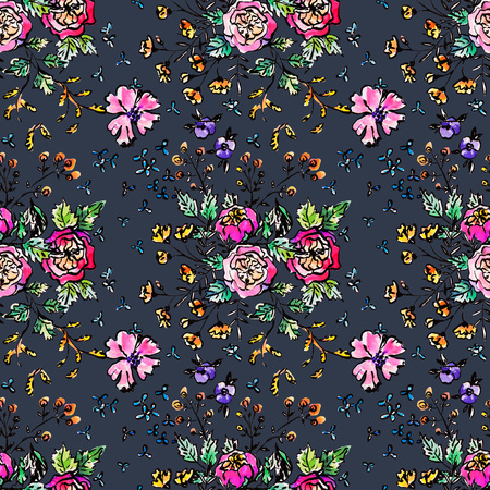 Watercolor floral hand drawn colorful bright seamless pattern
