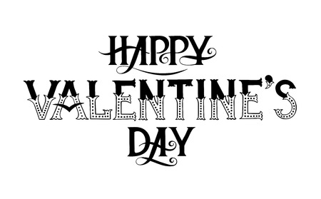 Typography phrase for Valentines day. Vector black and white lettering.
