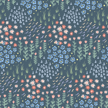 Hand drawn doodle seamless pattern with flowers