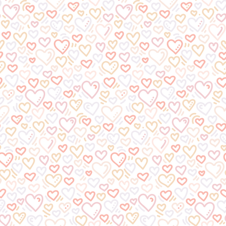 Hand drawn doodle seamless pattern with hearts