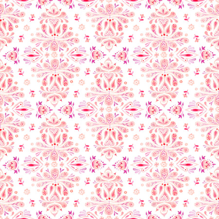 Hand drawn watercolor seamless pattern with paisley ornament Stock Photo