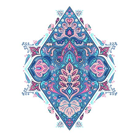 Indian colorful rug paisley ornament pattern design.
