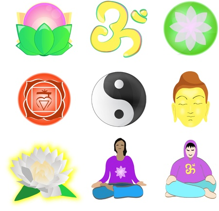 set of vector images about yoga and meditation Illustration