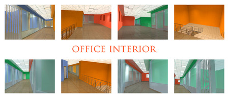 eight types of office interior in various color scale