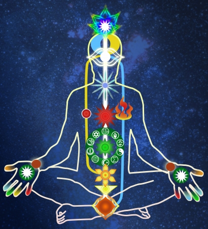 chakras: scheme of a power body of the person Stock Photo