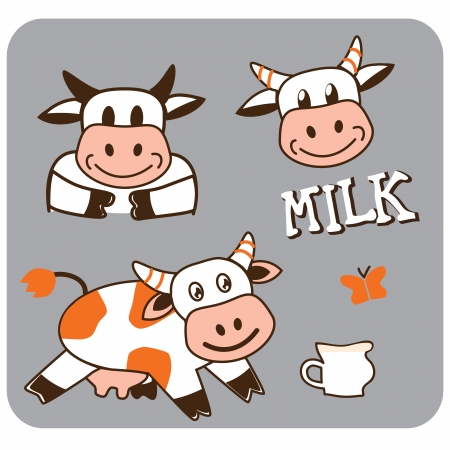 vector image of a cheerful spotty cow Illustration