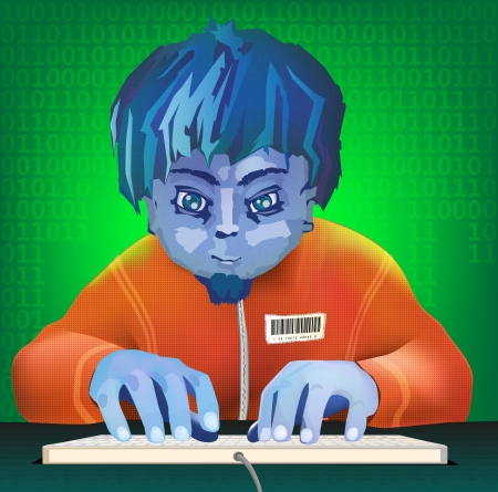 the young hacker hacks a database (illustration)
