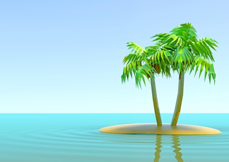 two palm trees on the island in the middle of the ocean Stock Photo
