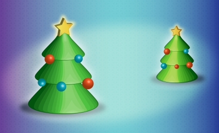 New Year trees with multi-colored spheres and a star