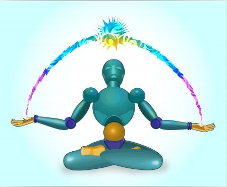 robot meditates in a pose of a lotus and radiates energy Banco de Imagens