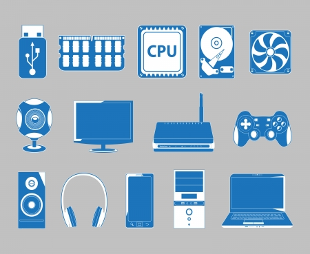 set of vector icons of computer subject Vector
