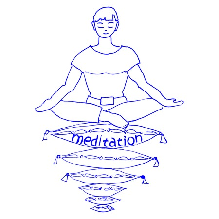 meditates: the guy meditates in a lotus pose on pillows Illustration