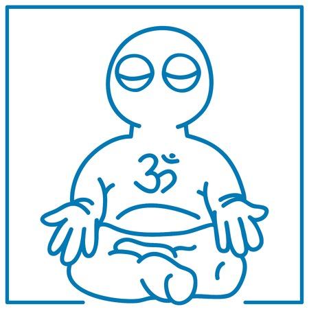 meditation man: illustration of the little man in meditation