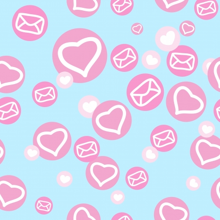 texture with hearts and envelopes for design Illustration