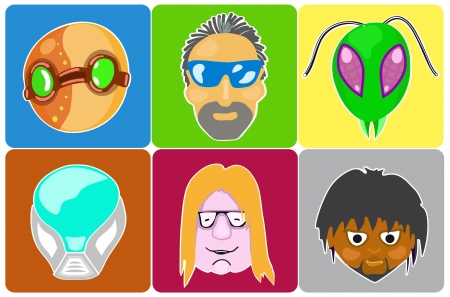 illustration of icons of 6 characters from comics