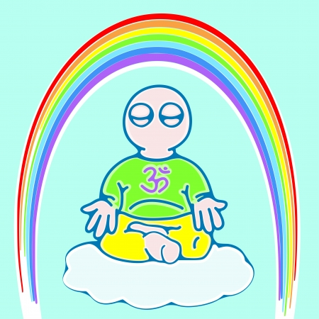 illustration of little man on a cloud in meditation