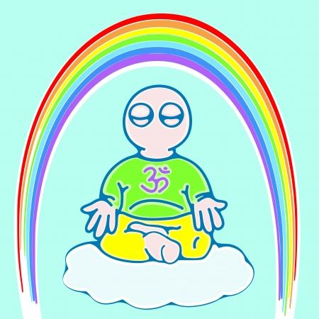 meditation man: illustration of little man on a cloud in meditation