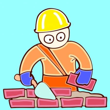 illustration of working bricklayer in a helmet on building